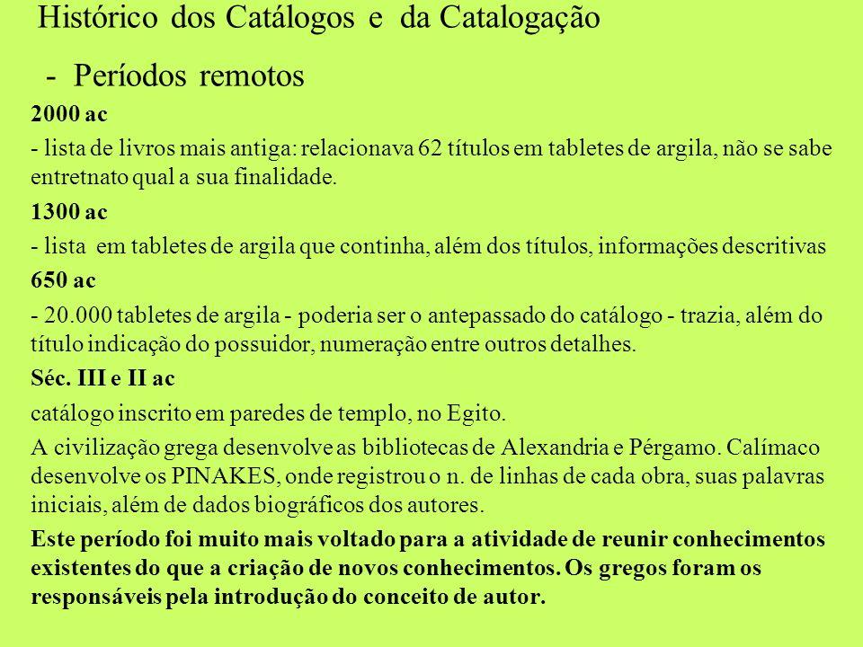 Histórico dos Catálogos e da Catalogação - Períodos remotos 2000 ac - lista de livros mais antiga: relacionava 62 títulos em tabletes de argila, não s