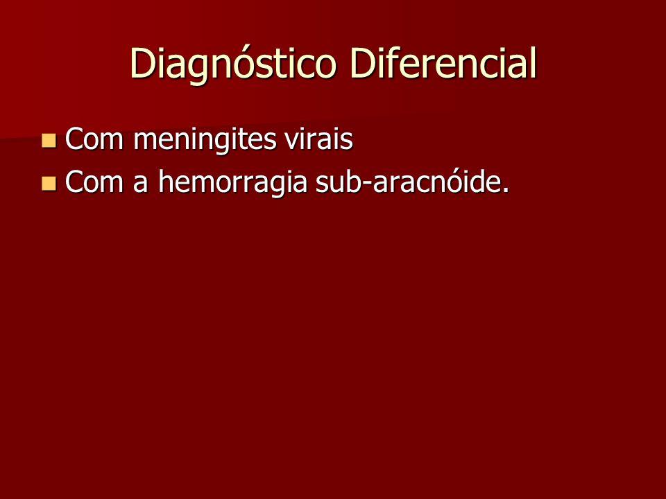 Diagnóstico Diferencial Com meningites virais Com meningites virais Com a hemorragia sub-aracnóide. Com a hemorragia sub-aracnóide.