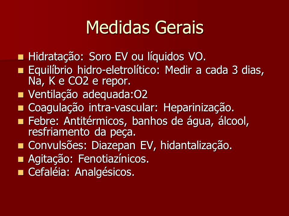 Medidas Gerais Hidratação: Soro EV ou líquidos VO. Hidratação: Soro EV ou líquidos VO. Equilíbrio hidro-eletrolítico: Medir a cada 3 dias, Na, K e CO2