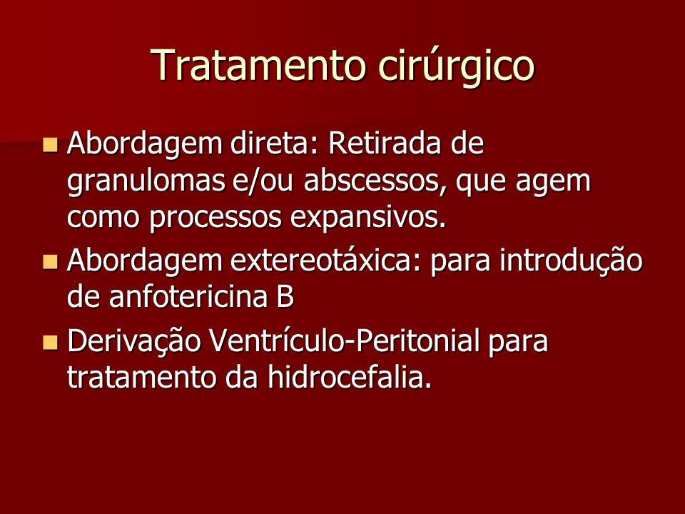 Tratamento cirúrgico Abordagem direta: Retirada de granulomas e/ou abscessos, que agem como processos expansivos. Abordagem direta: Retirada de granul