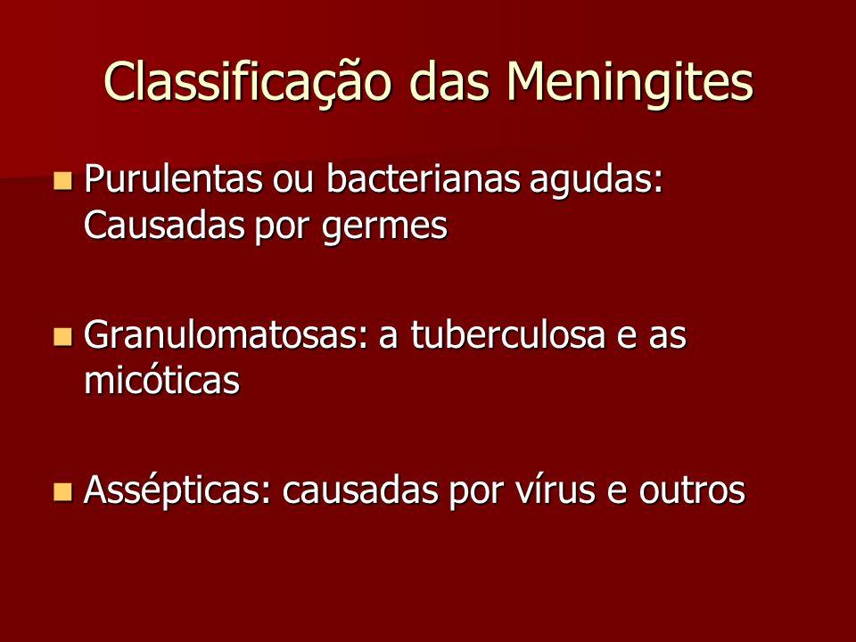 Classificação das Meningites Purulentas ou bacterianas agudas: Causadas por germes Purulentas ou bacterianas agudas: Causadas por germes Granulomatosa