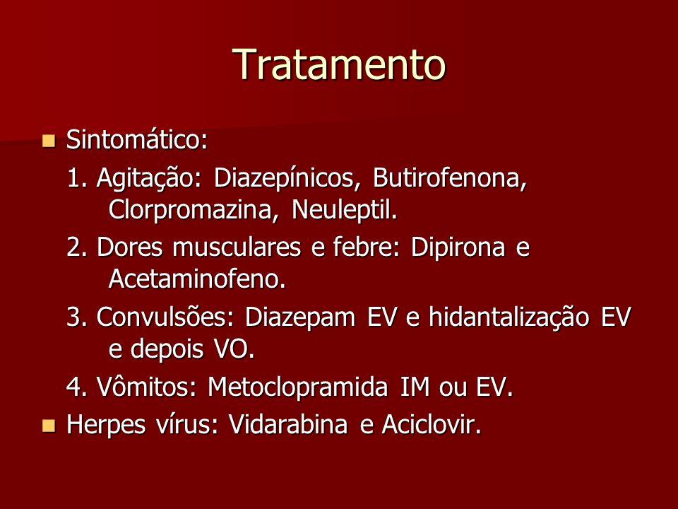 Tratamento Sintomático: Sintomático: 1. Agitação: Diazepínicos, Butirofenona, Clorpromazina, Neuleptil. 2. Dores musculares e febre: Dipirona e Acetam