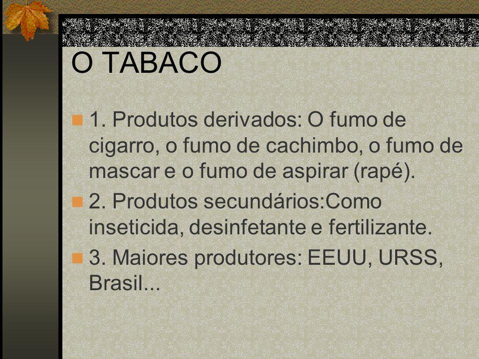O TABACO 4.Estados produtores: Rio Grande do Sul, Santa Catarina, Alagoas, Bahia...