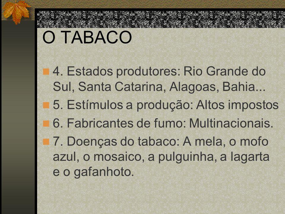 O TABACO 8.Controle das pragas do tabaco: Fungicidas e inseticidas.