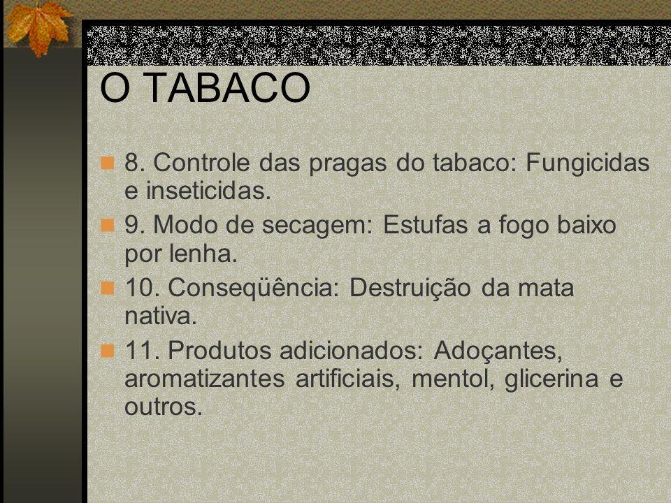 O TABACO 12.Origem do tabaco: Américas. 13. Vício do fumo: Século XVIII.