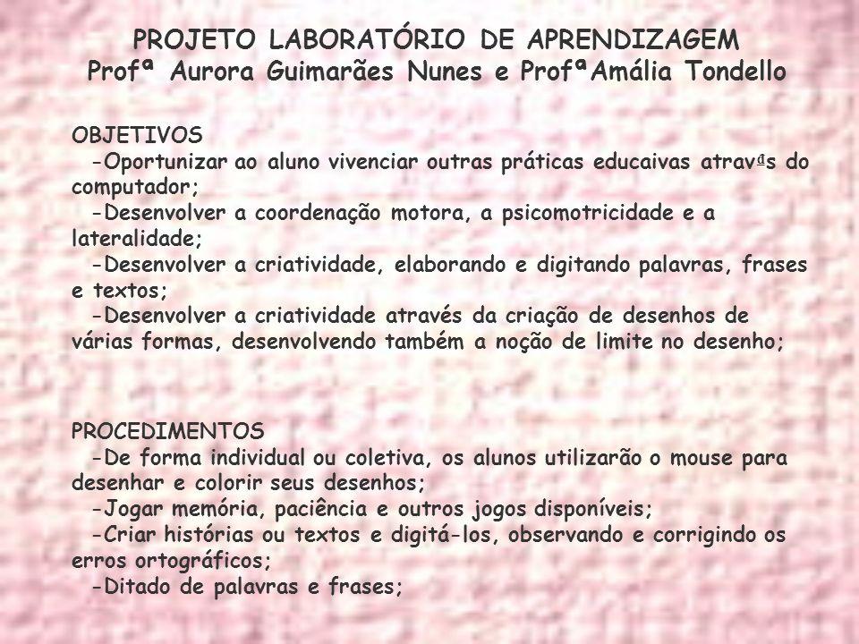 PROJETO LABORATÓRIO DE APRENDIZAGEM Profª Aurora Guimarães Nunes e ProfªAmália Tondello OBJETIVOS -Oportunizar ao aluno vivenciar outras práticas educ