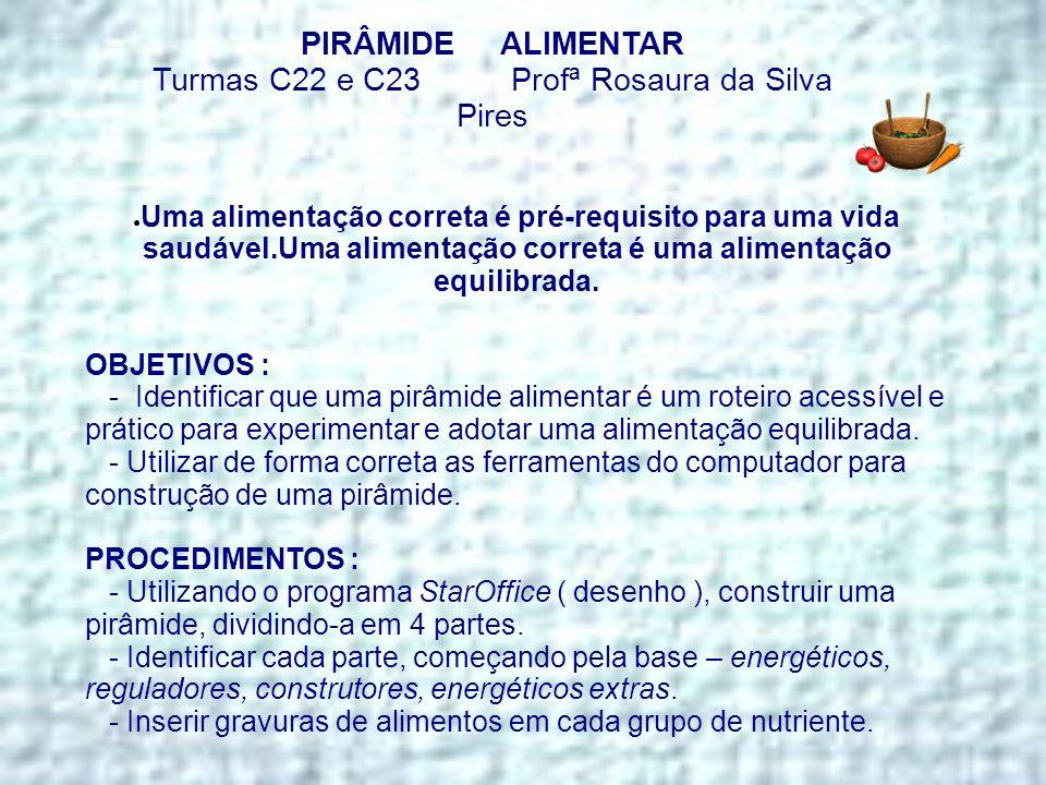 PIRÂMIDE ALIMENTAR Turmas C22 e C23 Profª Rosaura da Silva Pires Uma alimentação correta é pré-requisito para uma vida saudável.Uma alimentação corret