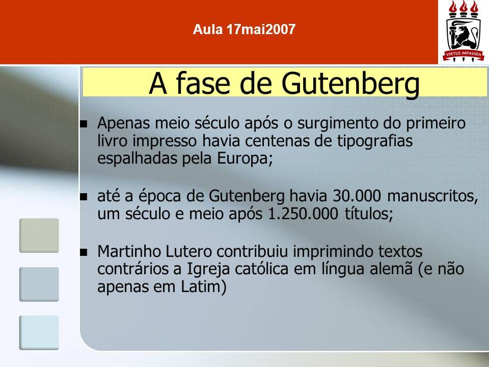 Apenas meio século após o surgimento do primeiro livro impresso havia centenas de tipografias espalhadas pela Europa; até a época de Gutenberg havia 3