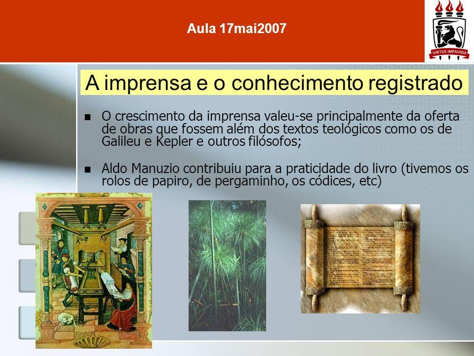 O crescimento da imprensa valeu-se principalmente da oferta de obras que fossem além dos textos teológicos como os de Galileu e Kepler e outros filóso