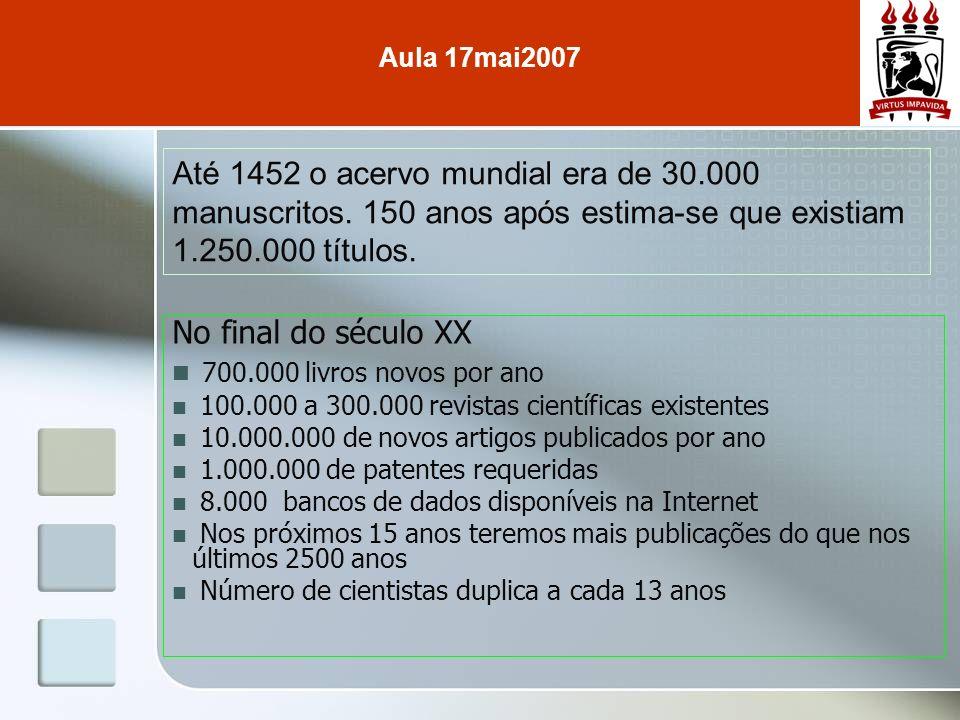 Até 1452 o acervo mundial era de 30.000 manuscritos. 150 anos após estima-se que existiam 1.250.000 títulos. No final do século XX 700.000 livros novo