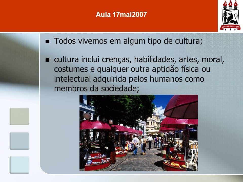 Todos vivemos em algum tipo de cultura; cultura inclui crenças, habilidades, artes, moral, costumes e qualquer outra aptidão física ou intelectual adq