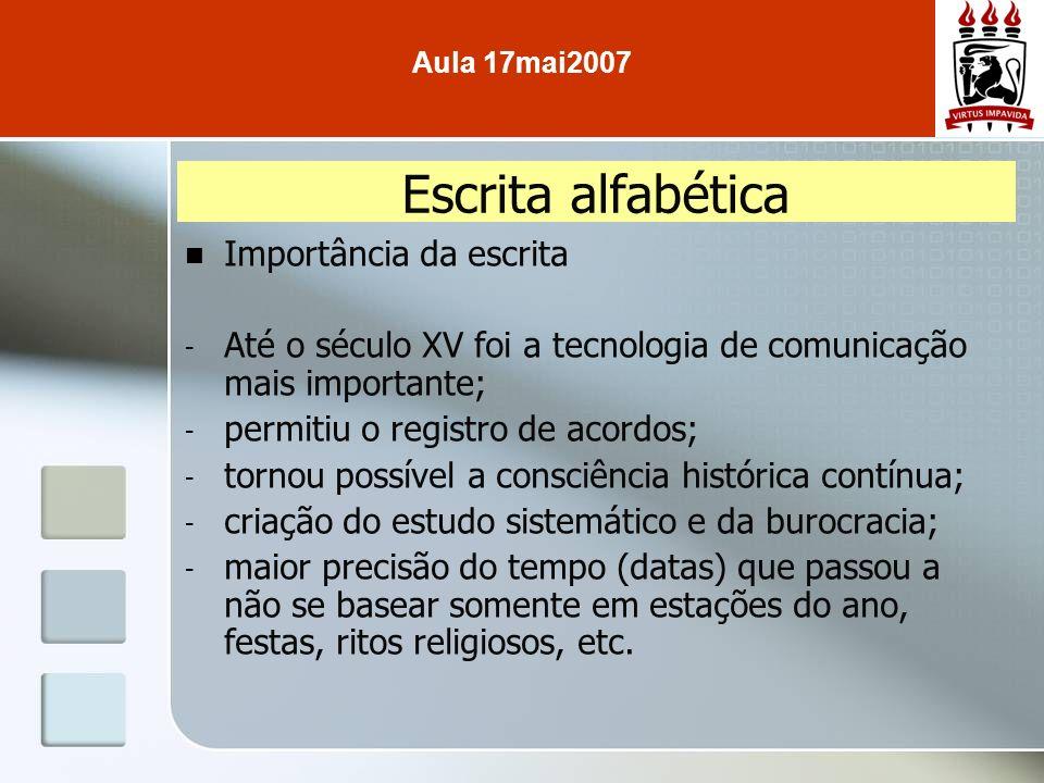 Importância da escrita - Até o século XV foi a tecnologia de comunicação mais importante; - permitiu o registro de acordos; - tornou possível a consci