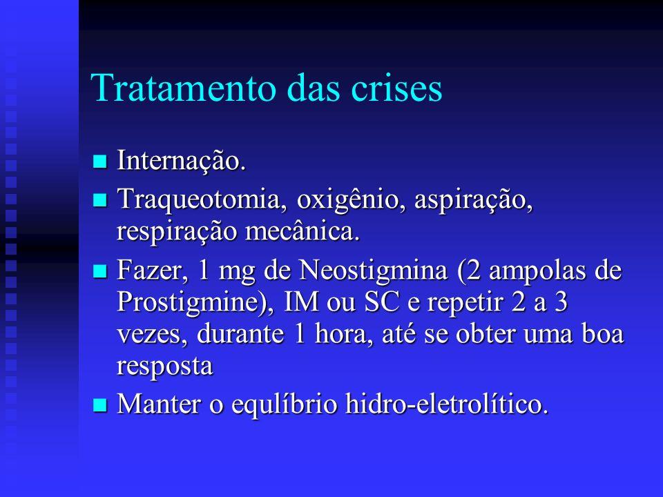 Tratamento sintomático Uso de drogas anticolinérgicas: Uso de drogas anticolinérgicas: Neostigmina – dose de 150 mg/dia, VO Piridostigmina – dose de 0