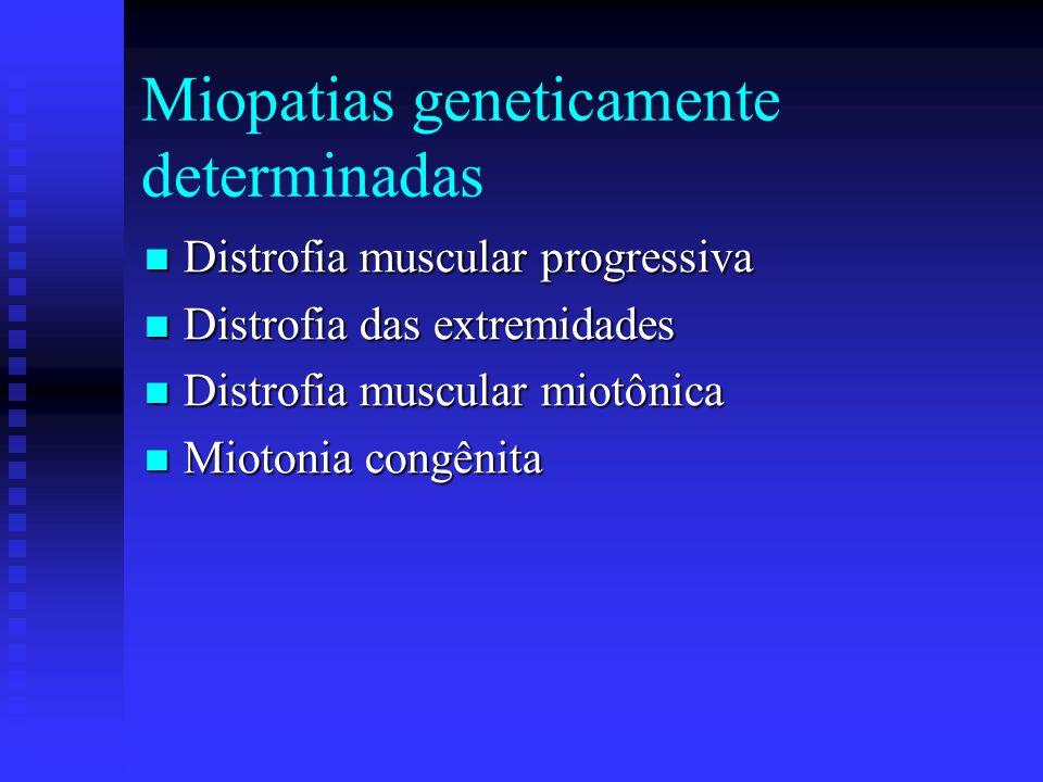 Classificação Miopatias geneticamente determinadas Miopatias geneticamente determinadas Miopatias inflmatórias – Miosites Miopatias inflmatórias – Mio