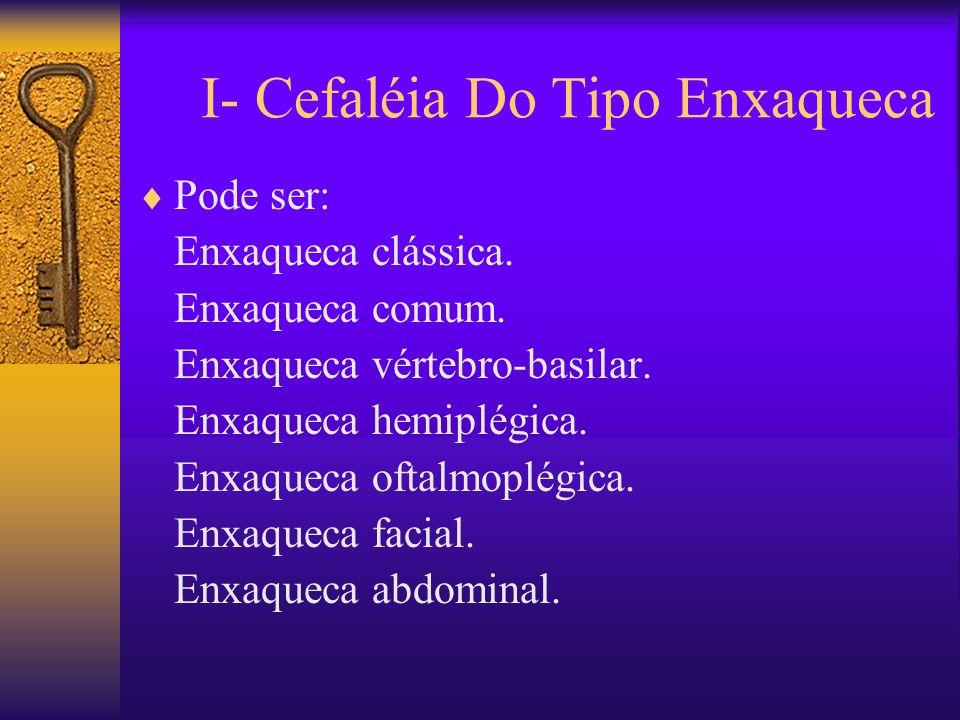 I- Cefaléia Do Tipo Enxaqueca Pode ser: Enxaqueca clássica.