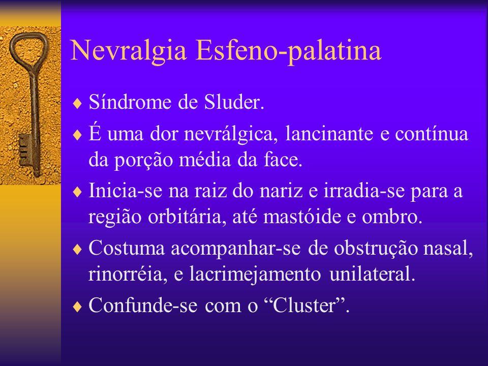 Nevralgia Esfeno-palatina Síndrome de Sluder.