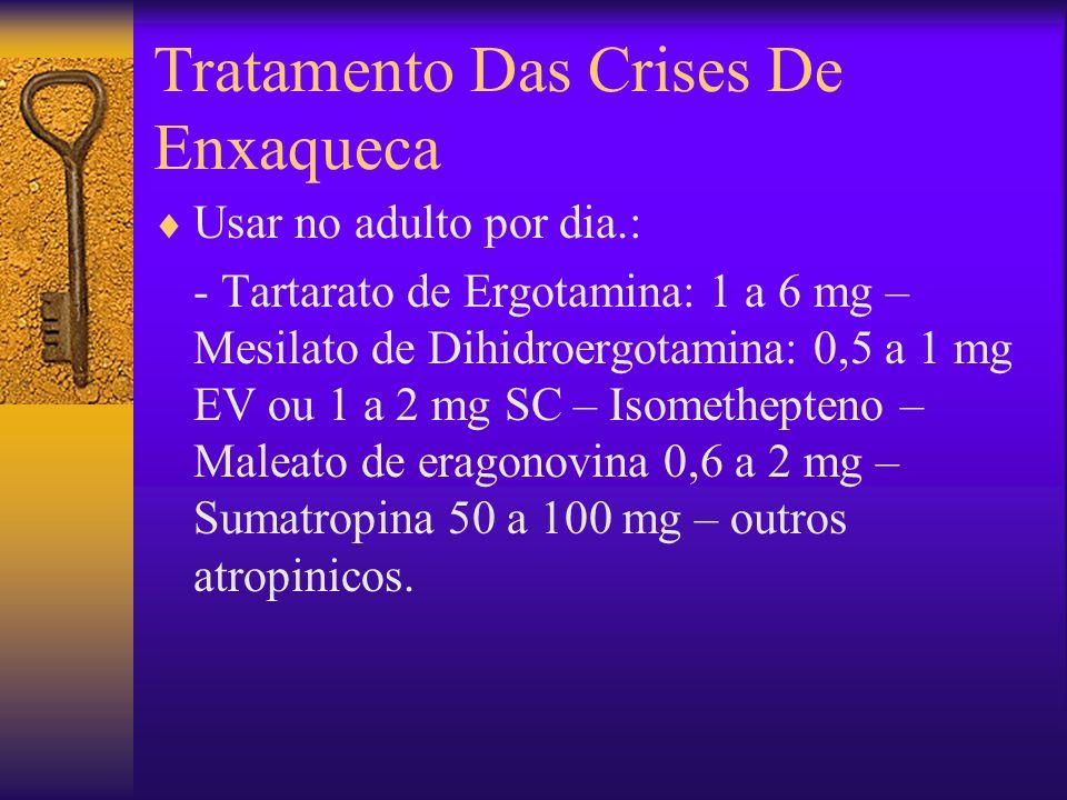 Tratamento Das Crises De Enxaqueca Usar no adulto por dia.: - Tartarato de Ergotamina: 1 a 6 mg – Mesilato de Dihidroergotamina: 0,5 a 1 mg EV ou 1 a 2 mg SC – Isomethepteno – Maleato de eragonovina 0,6 a 2 mg – Sumatropina 50 a 100 mg – outros atropinicos.