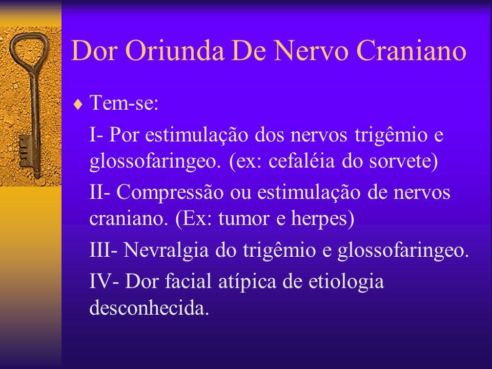 Dor Oriunda De Nervo Craniano Tem-se: I- Por estimulação dos nervos trigêmio e glossofaringeo.