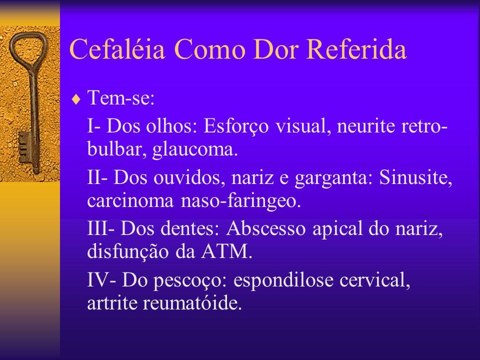 Cefaléia Como Dor Referida Tem-se: I- Dos olhos: Esforço visual, neurite retro- bulbar, glaucoma.