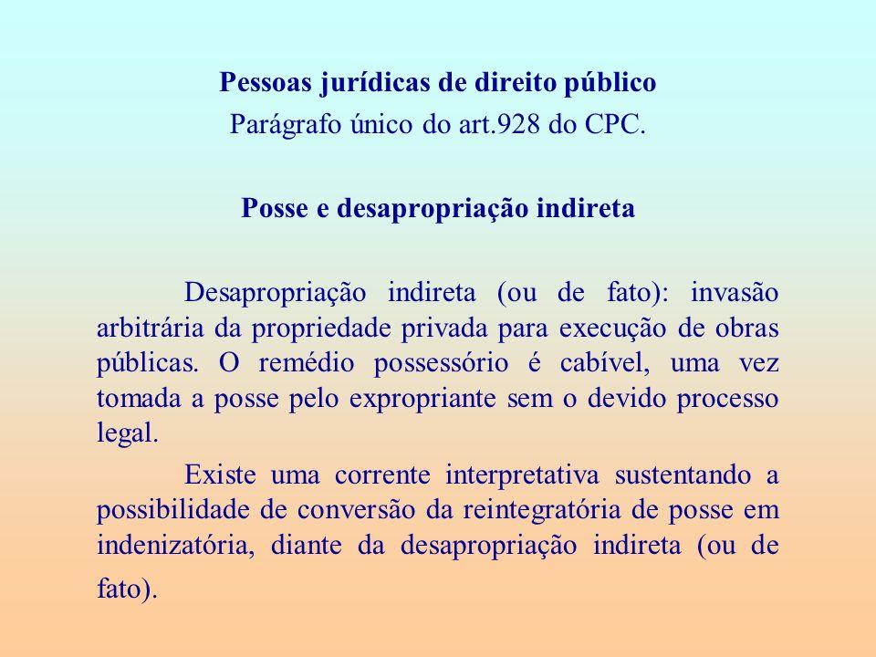 Pessoas jurídicas de direito público Parágrafo único do art.928 do CPC. Posse e desapropriação indireta Desapropriação indireta (ou de fato): invasão
