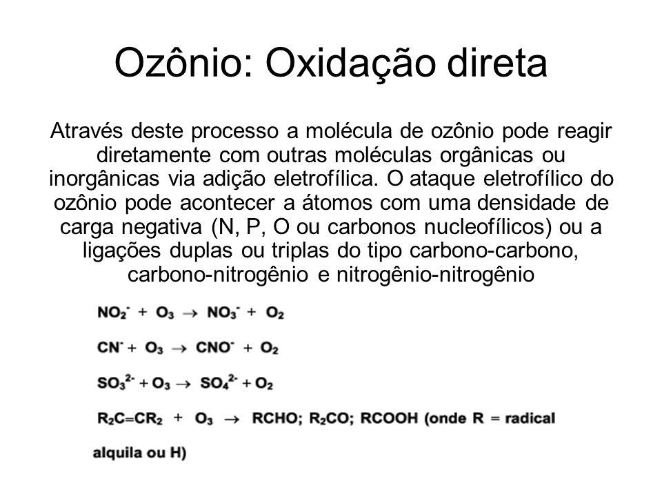 Ozônio: Oxidação direta Através deste processo a molécula de ozônio pode reagir diretamente com outras moléculas orgânicas ou inorgânicas via adição e