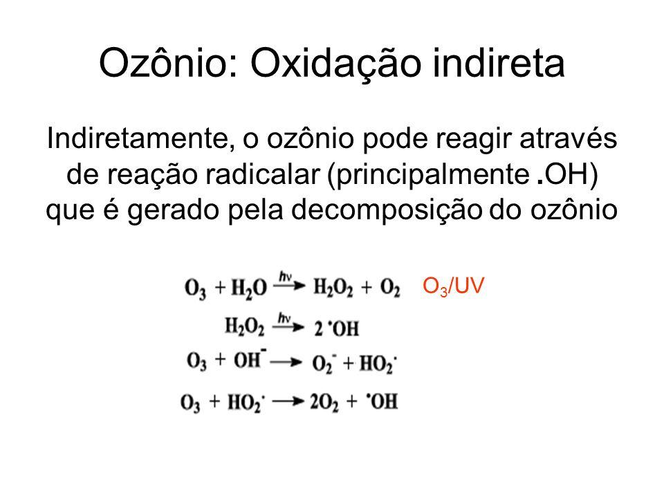Ozônio: Oxidação indireta Indiretamente, o ozônio pode reagir através de reação radicalar (principalmente.OH) que é gerado pela decomposição do ozônio