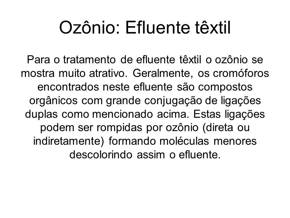 Ozônio: Efluente têxtil Para o tratamento de efluente têxtil o ozônio se mostra muito atrativo. Geralmente, os cromóforos encontrados neste efluente s