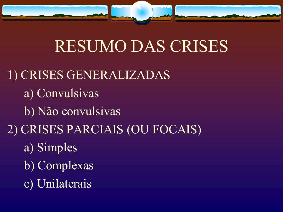 RESUMO DAS CRISES 1) CRISES GENERALIZADAS a) Convulsivas b) Não convulsivas 2) CRISES PARCIAIS (OU FOCAIS) a) Simples b) Complexas c) Unilaterais