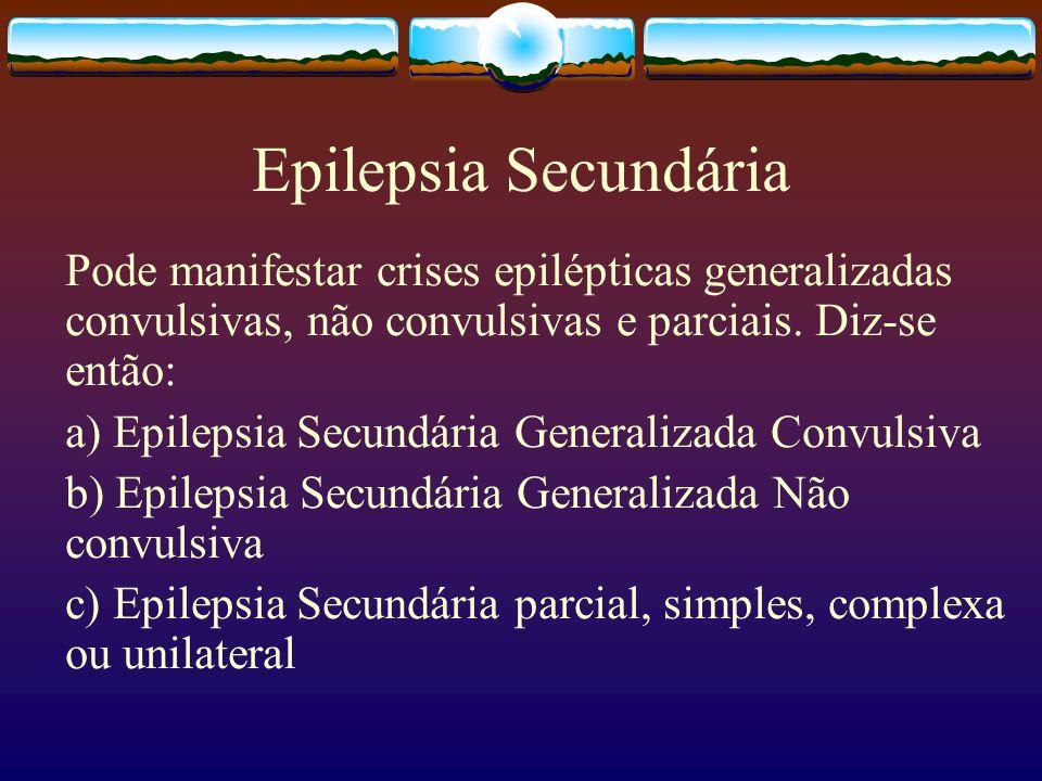 Epilepsia Secundária Pode manifestar crises epilépticas generalizadas convulsivas, não convulsivas e parciais.