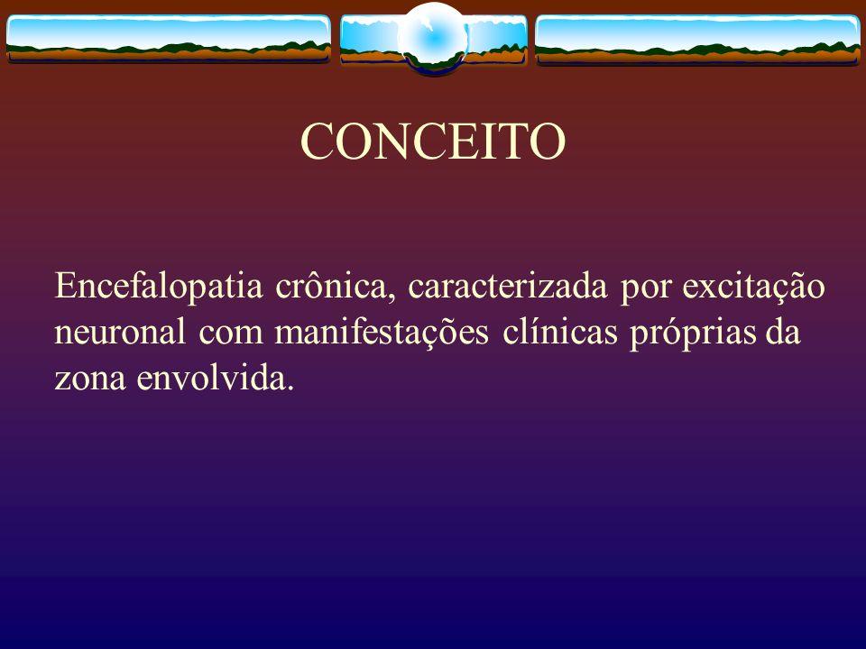 CONCEITO Encefalopatia crônica, caracterizada por excitação neuronal com manifestações clínicas próprias da zona envolvida.