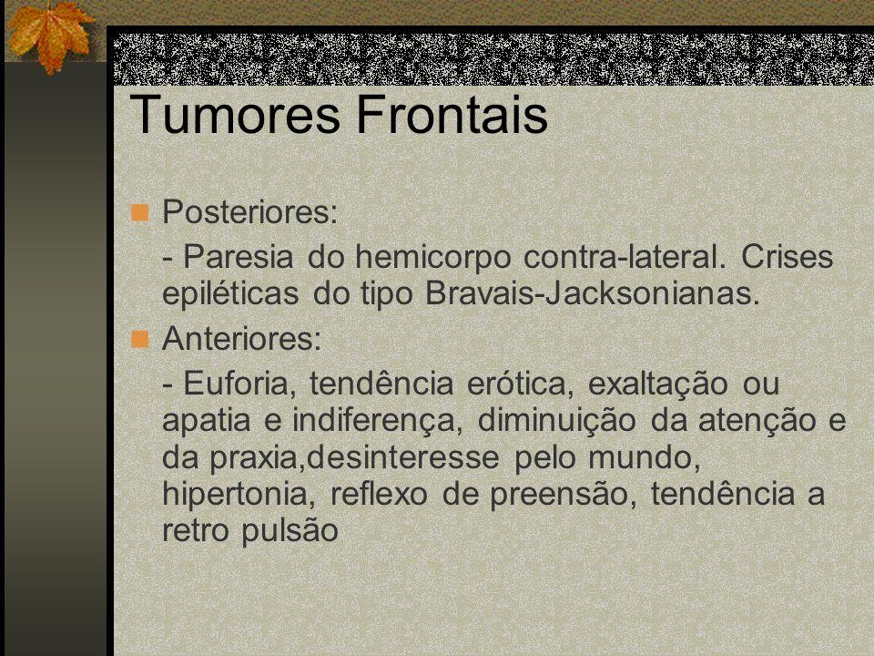 Síndrome focal Dá a topografia do tumor. As funções da área diminuem. Os neurônios em torno são excitados.
