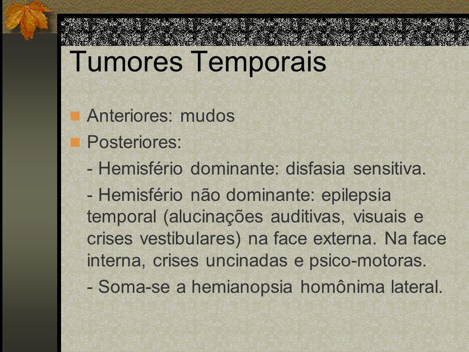 Tumores Frontais Posteriores: - Paresia do hemicorpo contra-lateral. Crises epiléticas do tipo Bravais-Jacksonianas. Anteriores: - Euforia, tendência
