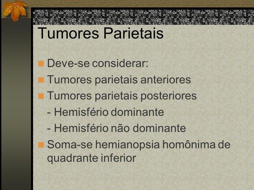 Tumores Temporais Anteriores: mudos Posteriores: - Hemisfério dominante: disfasia sensitiva. - Hemisfério não dominante: epilepsia temporal (alucinaçõ