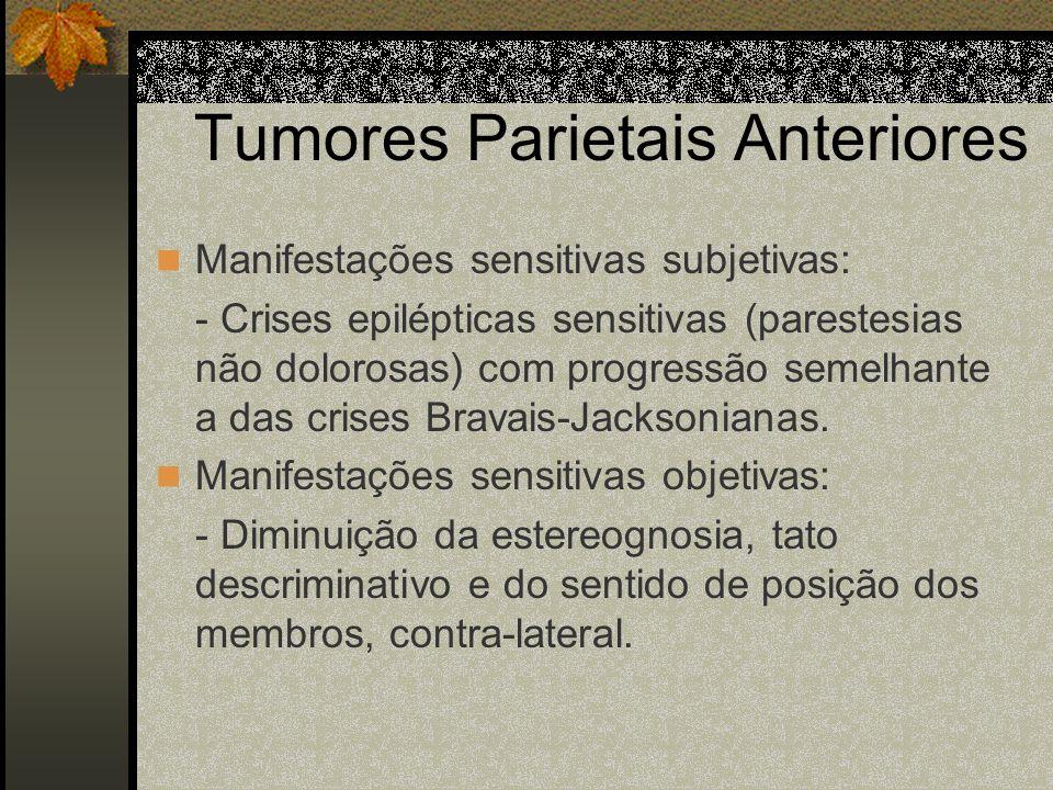 Tumores Parietais Deve-se considerar: Tumores parietais anteriores Tumores parietais posteriores - Hemisfério dominante - Hemisfério não dominante Som