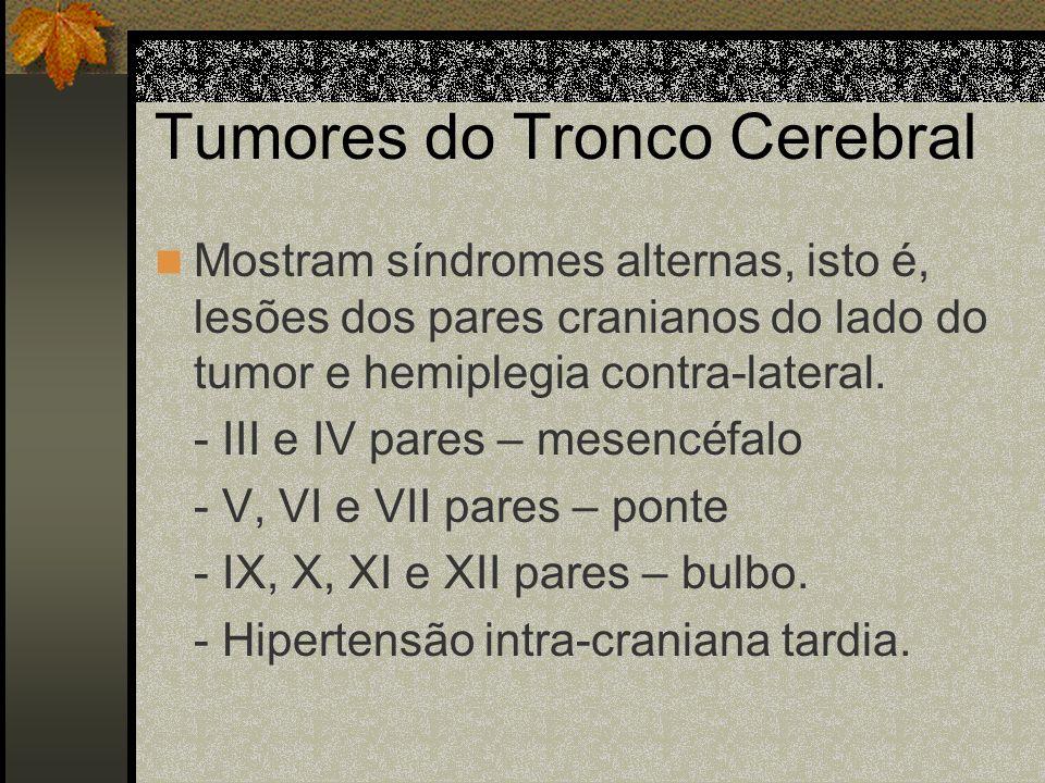 Tumores Occipitais Superficiais: Causam hemianopsia homônima temporal, associada a crises epilépticas focais, que se manifestam por manchas brilhantes