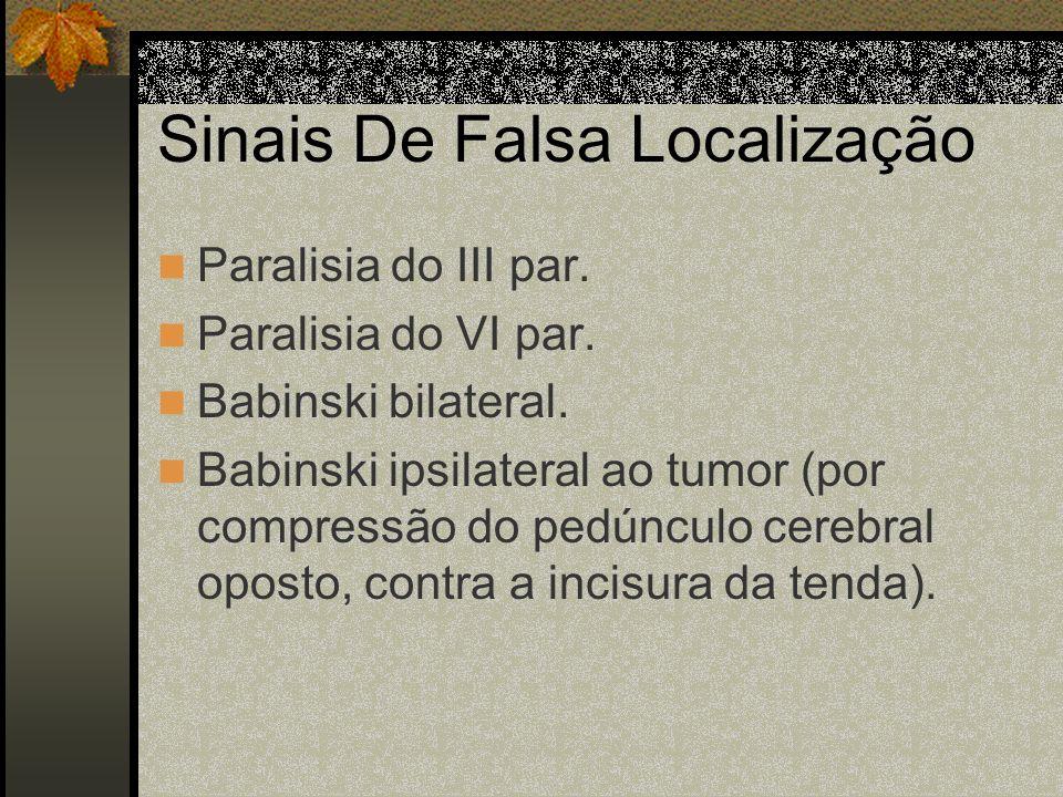Sinais de Hérnias De uncus, que causa compressão do III par, do mesencéfalo e da artéria Cerebral posterior dando midríase ipsilateral, estupor, coma,