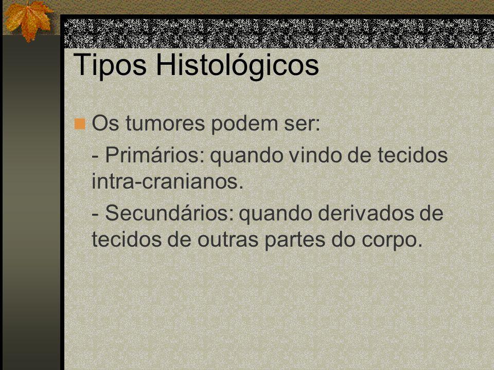 Tipos Histológicos Os tumores podem ser: - Primários: quando vindo de tecidos intra-cranianos.