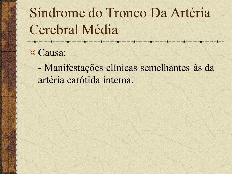 Síndrome da Artéria Cerebral Anterior Formada por: - Hemiplegia desproporcionada com predominância em membro inferior, contra-lateral. - Anestesia na