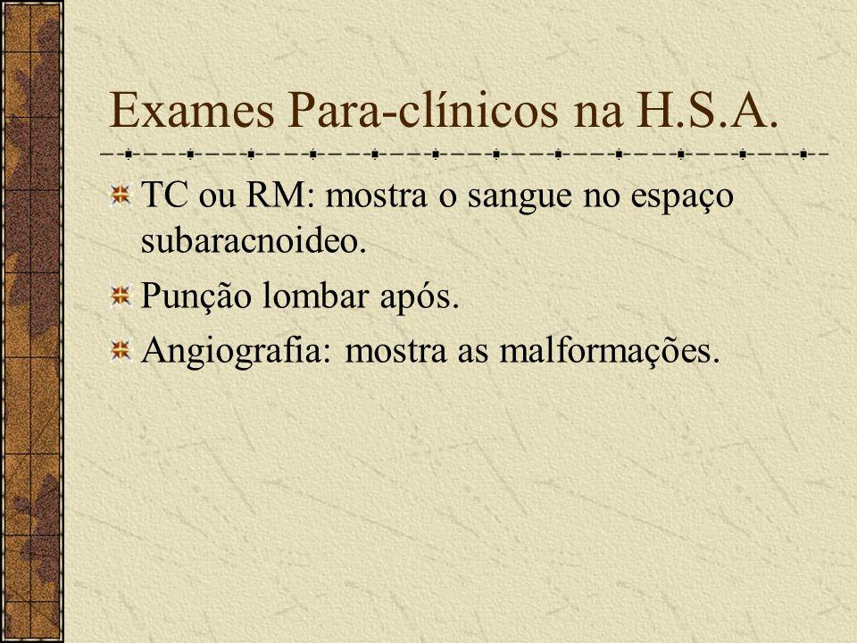 Hemorragia Sub-aracnoidea (H.S.A.) Cefaléia repentina e severa. Perda transitória ou progressiva da consciência. Sinais de irritação meningéia.