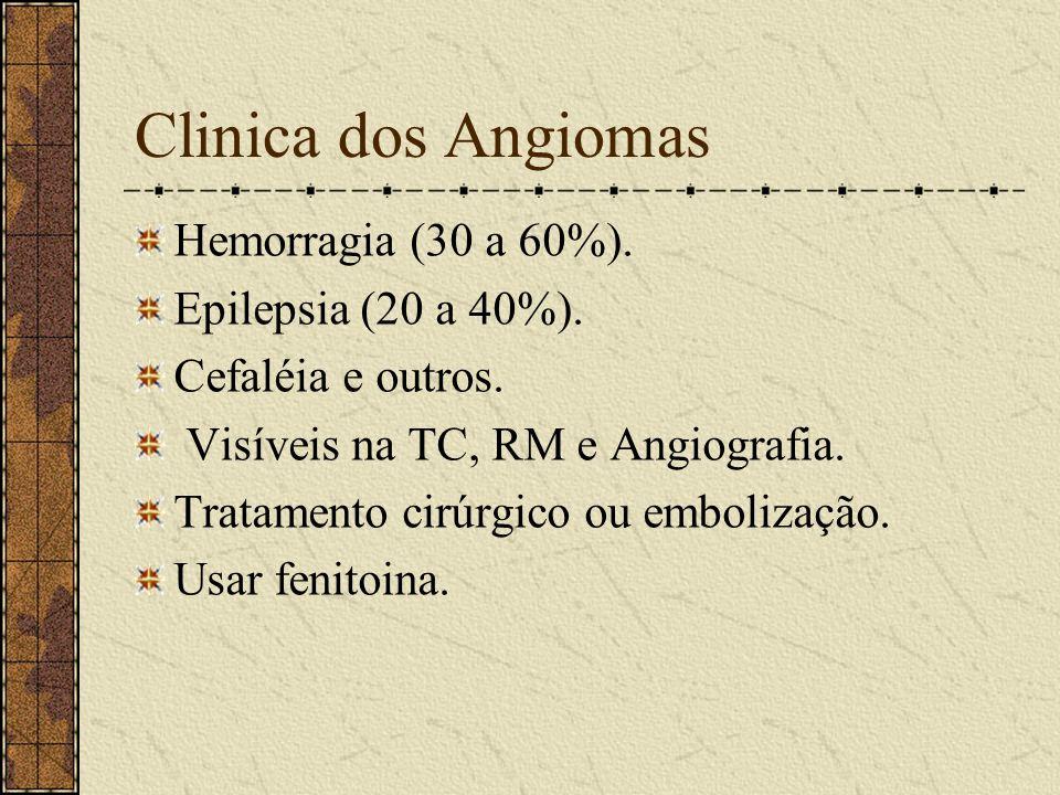 Angiomas São congênitos. Causam gliose pós isquêmica. Causam compressão ou deformação do tecido nervoso. Pode levar a uma hidrocefalia obstrutiva.