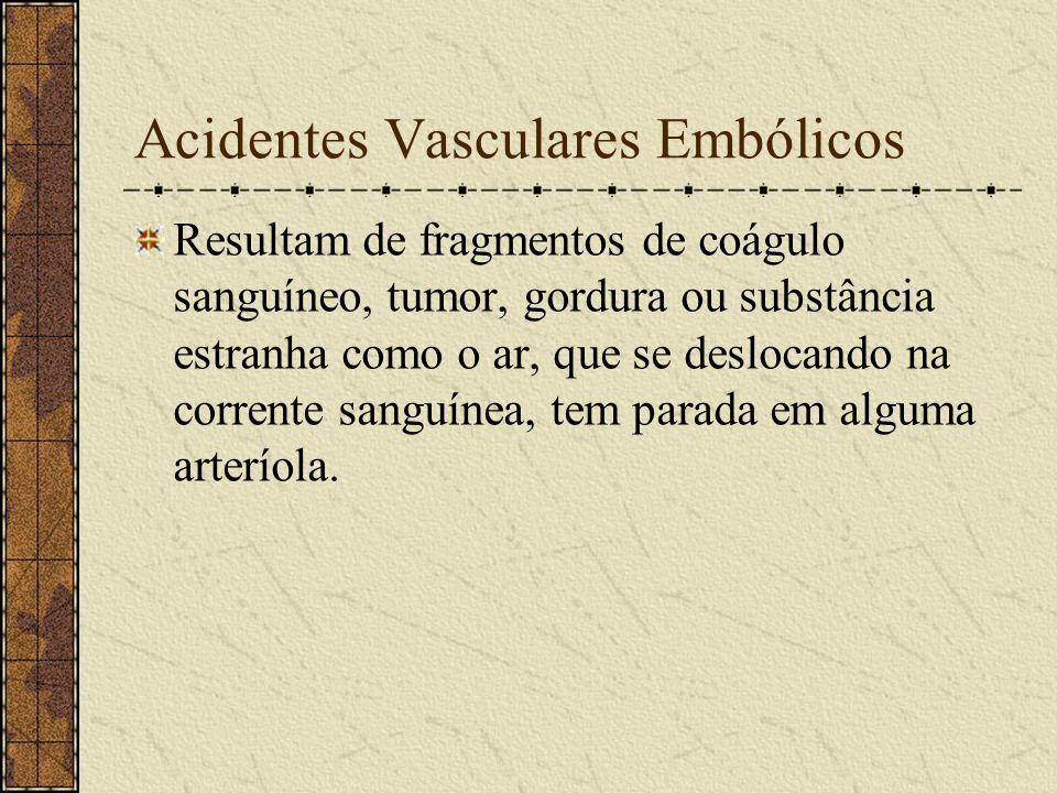 1) Acidentes Vasculares Isquêmicos Podem ser: - Embólicos. - Trombóticos. - Isquemia Cerebral Transitória.