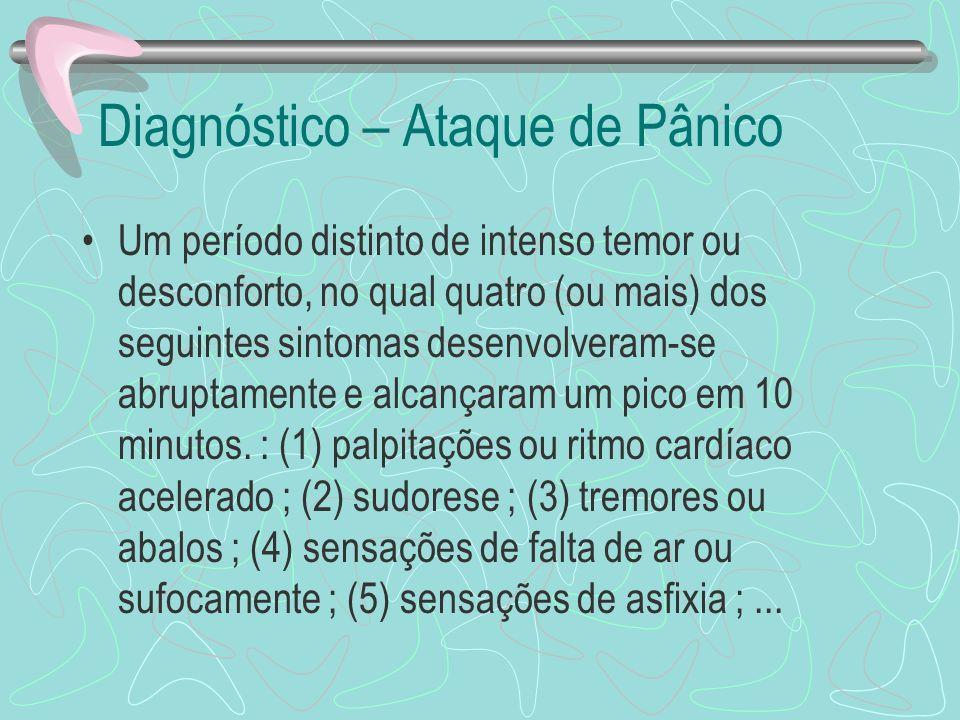 Diagnóstico – Ataque de Pânico Um período distinto de intenso temor ou desconforto, no qual quatro (ou mais) dos seguintes sintomas desenvolveram-se a