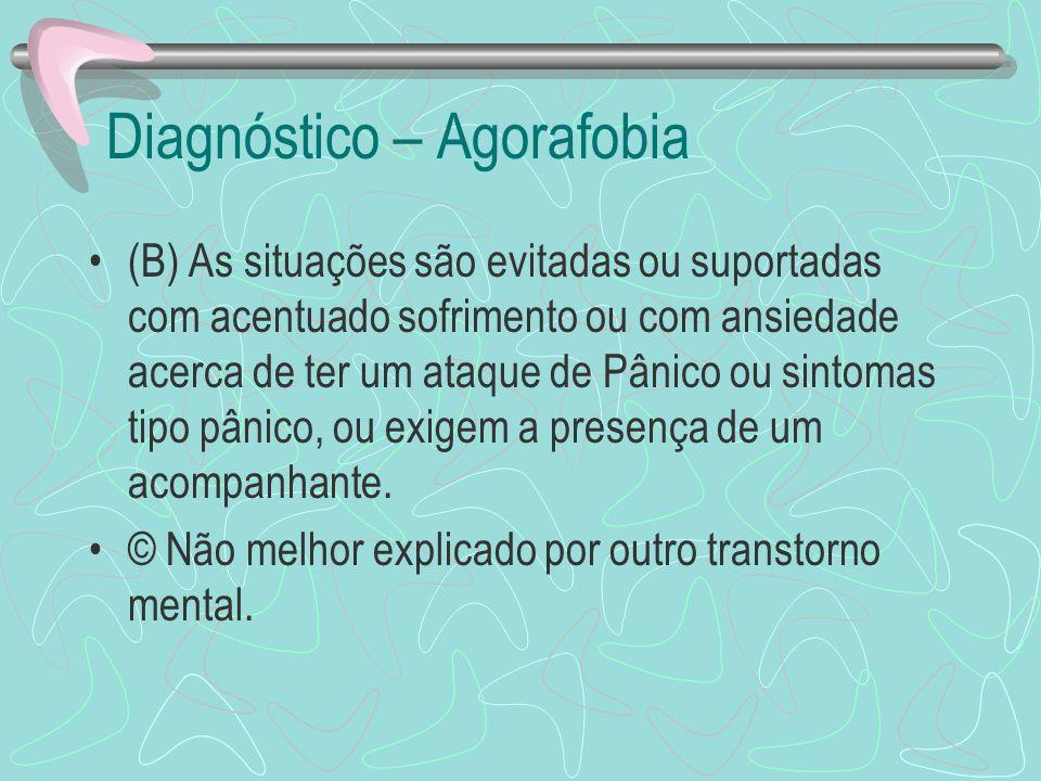 Diagnóstico – Agorafobia (B) As situações são evitadas ou suportadas com acentuado sofrimento ou com ansiedade acerca de ter um ataque de Pânico ou si