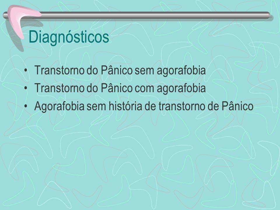 Diagnósticos Transtorno do Pânico sem agorafobia Transtorno do Pânico com agorafobia Agorafobia sem história de transtorno de Pânico