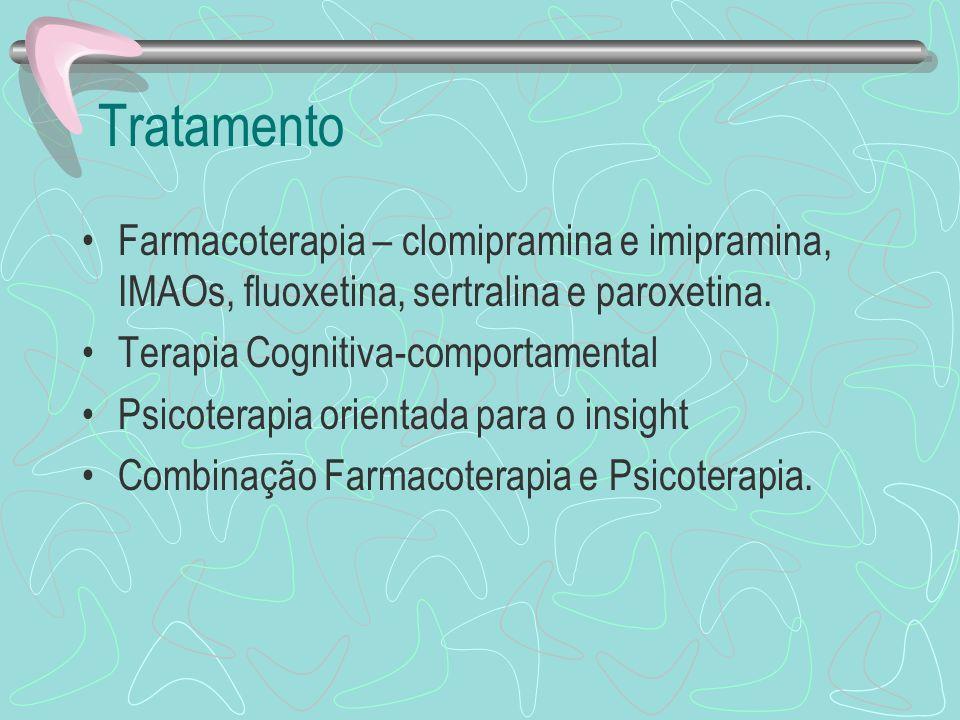 Tratamento Farmacoterapia – clomipramina e imipramina, IMAOs, fluoxetina, sertralina e paroxetina. Terapia Cognitiva-comportamental Psicoterapia orien