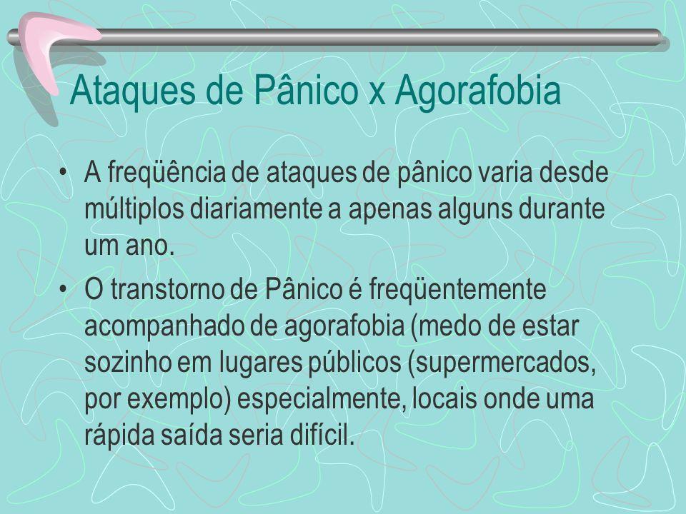 Ataques de Pânico x Agorafobia A freqüência de ataques de pânico varia desde múltiplos diariamente a apenas alguns durante um ano. O transtorno de Pân