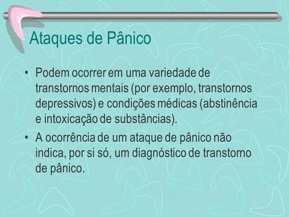 Ataques de Pânico Podem ocorrer em uma variedade de transtornos mentais (por exemplo, transtornos depressivos) e condições médicas (abstinência e into