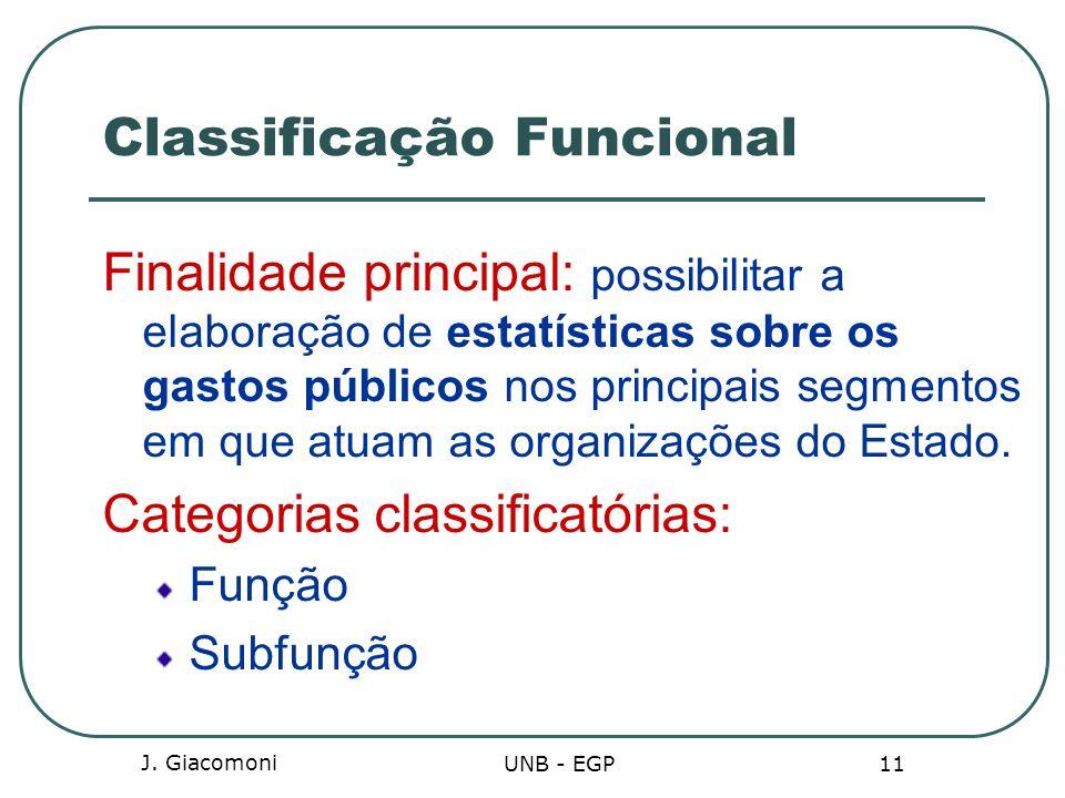 J. Giacomoni UNB - EGP 11 Classificação Funcional Finalidade principal: possibilitar a elaboração de estatísticas sobre os gastos públicos nos princip