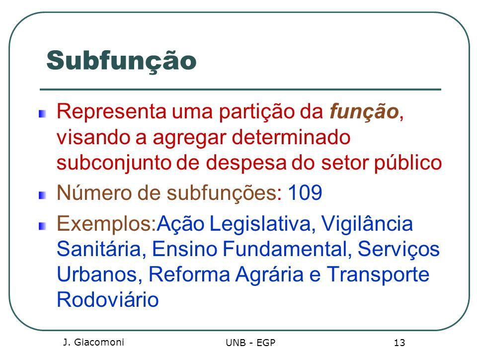J. Giacomoni UNB - EGP 13 Subfunção Representa uma partição da função, visando a agregar determinado subconjunto de despesa do setor público Número de