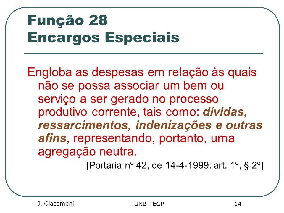 J. Giacomoni UNB - EGP 14 Função 28 Encargos Especiais Engloba as despesas em relação às quais não se possa associar um bem ou serviço a ser gerado no
